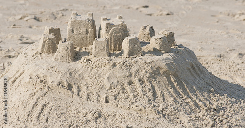 Sand castle built on the beach