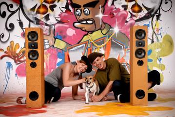 Teenagers dog urban graffiti
