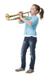 Pretty young girl blowing trumpet on white background