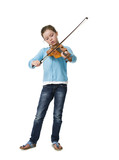 Pretty young girl playing violin on white background