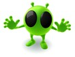 funny green abstract character on white background
