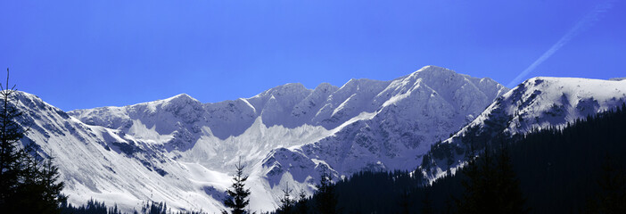 High mountains winter panorama landscape