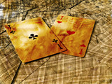 grunge gambling background. two aces on inverted cards poster