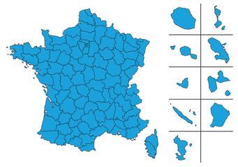 Carte de France vectoriel avec Départements et le DOM TOM