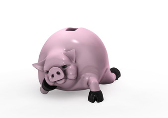 The Piggy Bank: No happiness without money. 3D rendered image