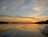 Sunset on Rio Negro in the Amazon River Brazil, South America poster