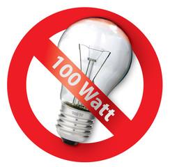 sign ban for Old-style 100-watt light bulbs