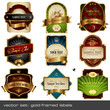 vector set: gold-framed labels - 9 items - 16488820