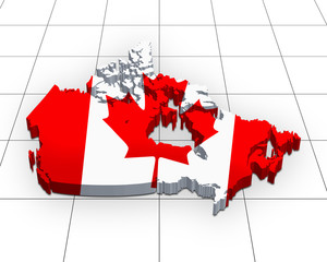3d map of Canada on a grid