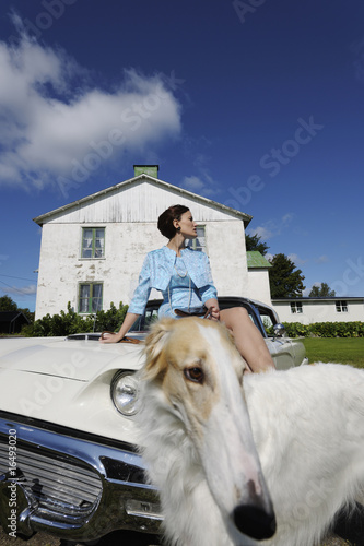 elegant lady with dog and car