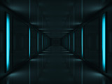 3d Dark corridor with blue lamps on walls - 16494231