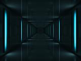 3d Dark corridor with blue lamps on walls - 16494231