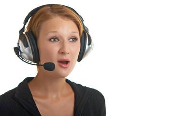 surprised girl in headphones