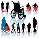 Disabled people silhouettes poster