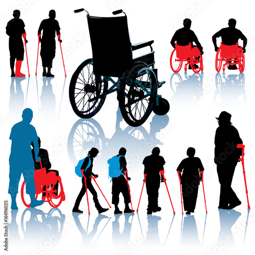 people walking silhouettes. Disabled people silhouettes