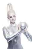 Beautiful cyber woman with silver ball poster