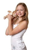 girl and a fluffy bunny poster