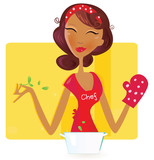 Sexi woman is preparing dinner in the kitchen. VECTOR. poster