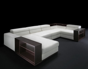 Modern sofa  on a black background