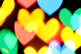 Colorful hearts bokeh poster