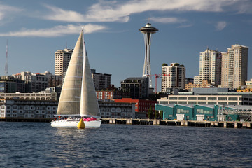 Sailboat sport race with space needle in Seattle Washington