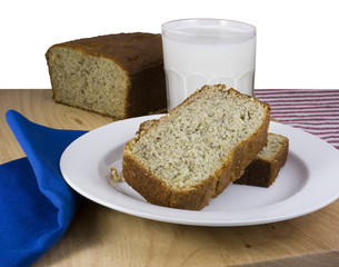 Close-up of Sliced Banana Bread with a Glass of Milk