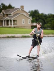 Water skiing on a lake