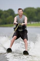 Fun water skiing on a lake