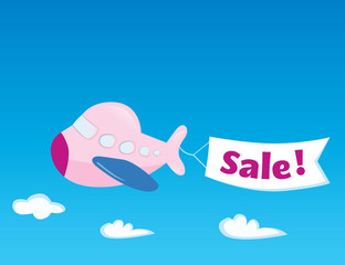 Flying Airplane with sale banner. Vector Illustration.