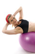 sit ups strength pose middle age woman fitness core ball