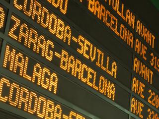 Panel de información ferroviario