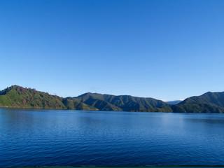 Distant hills of Marlborough Sounds, New Zealand.
