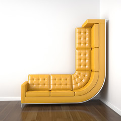 yellow couch bended to climb up wall