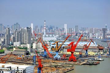 China Shanghai the Huangpu river and the city skyline.