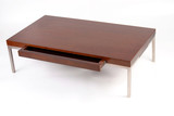 Contemporary coffee table with an open drawer poster