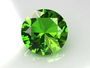 Large Olive Round Sapphire - 3D