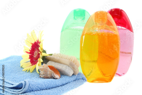 set  shower gel,  towel and flower isolated.