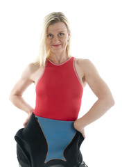 middle age female triathlete in swimming diver wet suit