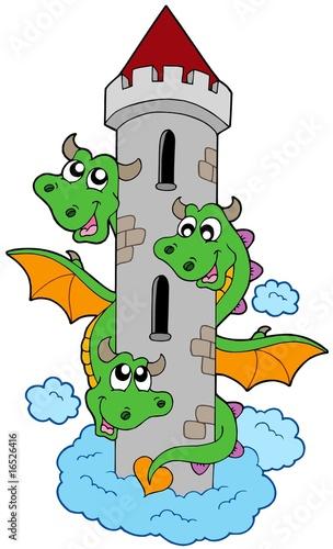 Foto op Aluminium Kasteel Three headed dragon with tower