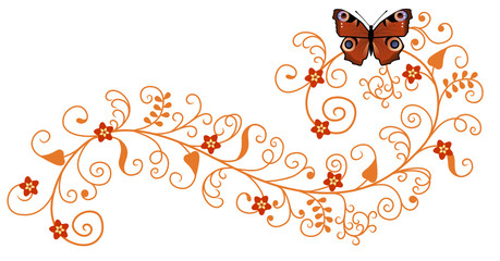 Pattern with butterfly and flowers.