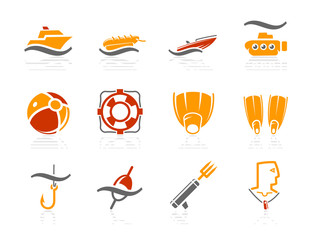 Sea, Beach, Fishing and Diving icons | Sunshine Hotel series