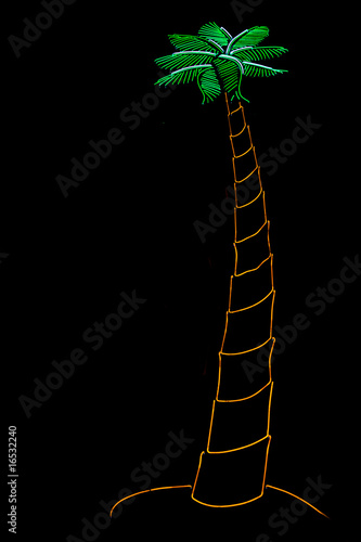 close up of a neon palm tree
