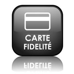 """Bouton carré vecteur """"CARTE FIDELITE"""" avec reflet (noir)"""