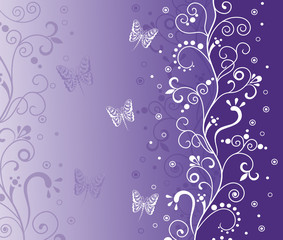 Violet background.