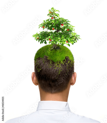 man with apple tree on his head