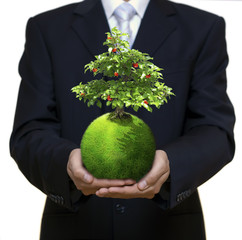 Businessman holding green planet with tree growing on it