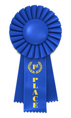 Blue Ribbon for First Place. Includes pro clipping path.