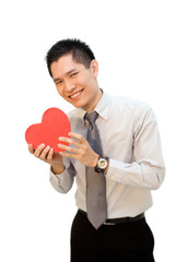 Asian business man with valentine gift box