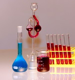 glassware in chemical laboratory