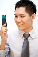 Asian male happy with video call